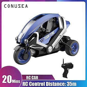 Auto Fernbedienung Stunt Motorrad Kinder elektrische Racing Motorrad Spielzeug für junge Geschenk(Blau)