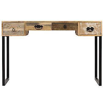 vidaXL Desk Mango puu kiinteä ja aito nahka 117x50x76 cm