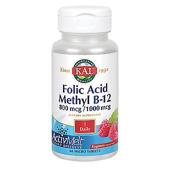 Acide folique Kal &B-12 ActivMelt, Framboise 60 Onglets