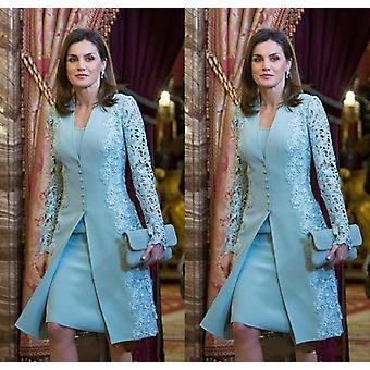 Elegant Mother Of Bride Dresses Short Two Piece Blue Long Sleeve Lace Applique