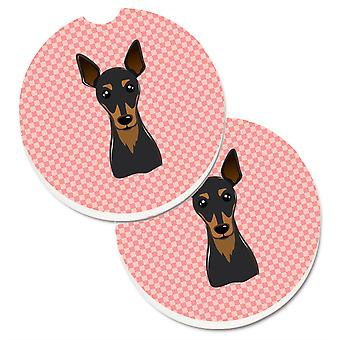 Caroline's Treasures Checkerboard Pink Min Pin Set di 2 cup holder Car Coasters BB1240CARC, 2.56, Multicolor