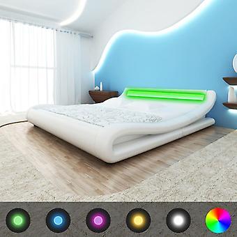 vidaXL Bett mit Matratze LED Weiß Kunstleder 180×200 cm