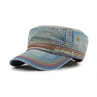 Unisex Casual Cotton Flat Top Hat (Tummansininen B)