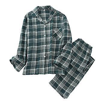 YANGFAN Herren Plaid Pyjama Set Baumwolle Langarm Nachtwäsche Tops und Hosen