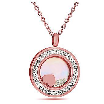 Flytande hjärta hänge insvept med kristaller från Swarovski - Silver