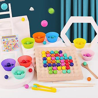 Wooden Go Games Set Dots Beads Board Games Toy Rainbow Clip Beads Puzzle Children's Early