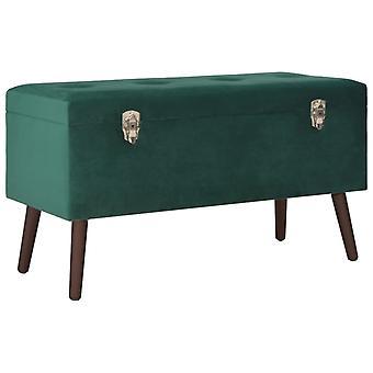 vidaXL bench with storage compartment green 80 cm velvet
