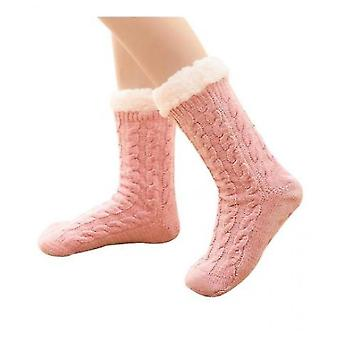 Ladies Foot Warmer Soft Socks Winter Warm Cotton Socks Household Foot Warmer(Pink)