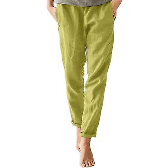 Womens Elastic Waist Cotton Trousers Ladies Casual Baggy Solid Color Long Pants