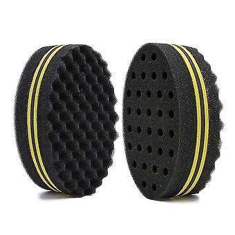 2 Pack Macroporous Sponge Hair, Magic Sponge Brush, Curly African Hair Sponge(Yellow)