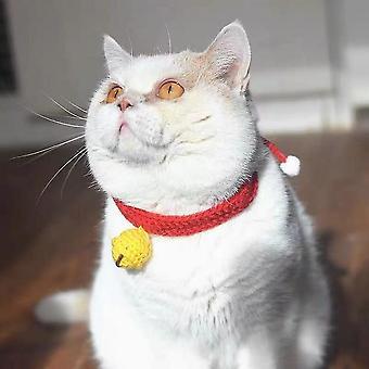 Cat Collar Mute Bell Adjustable, Hand-woven Pet Collar (red) - S