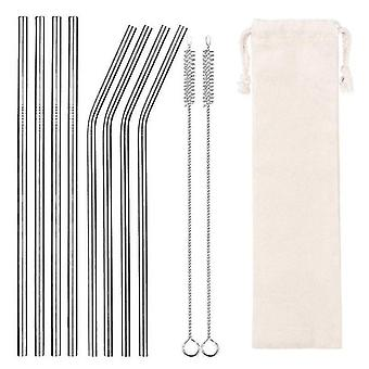 Drinking straws stirrers 8 piece set of reusable eco-friendly drinking straws with storage pouch sliver