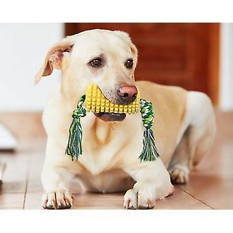 Pevná psí hračka, gumová hračka pro žvýkání psů s lanem, kartáček na psa ve tvaru kukuřice