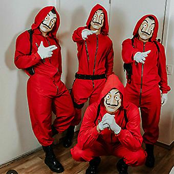Halloween Party Outfits Money Heist Carnival Cosplay Costume Jumpsuit And Mask