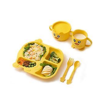 Children's Tableware Five Piece Set Of Creative Cartoon Wheat Straw Environmental Protection