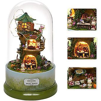 Diy Miniatur Puppenhaus Kit mit Möbeln, Drehen Drehen Musik-Box, Led Holz Mini Haus Set