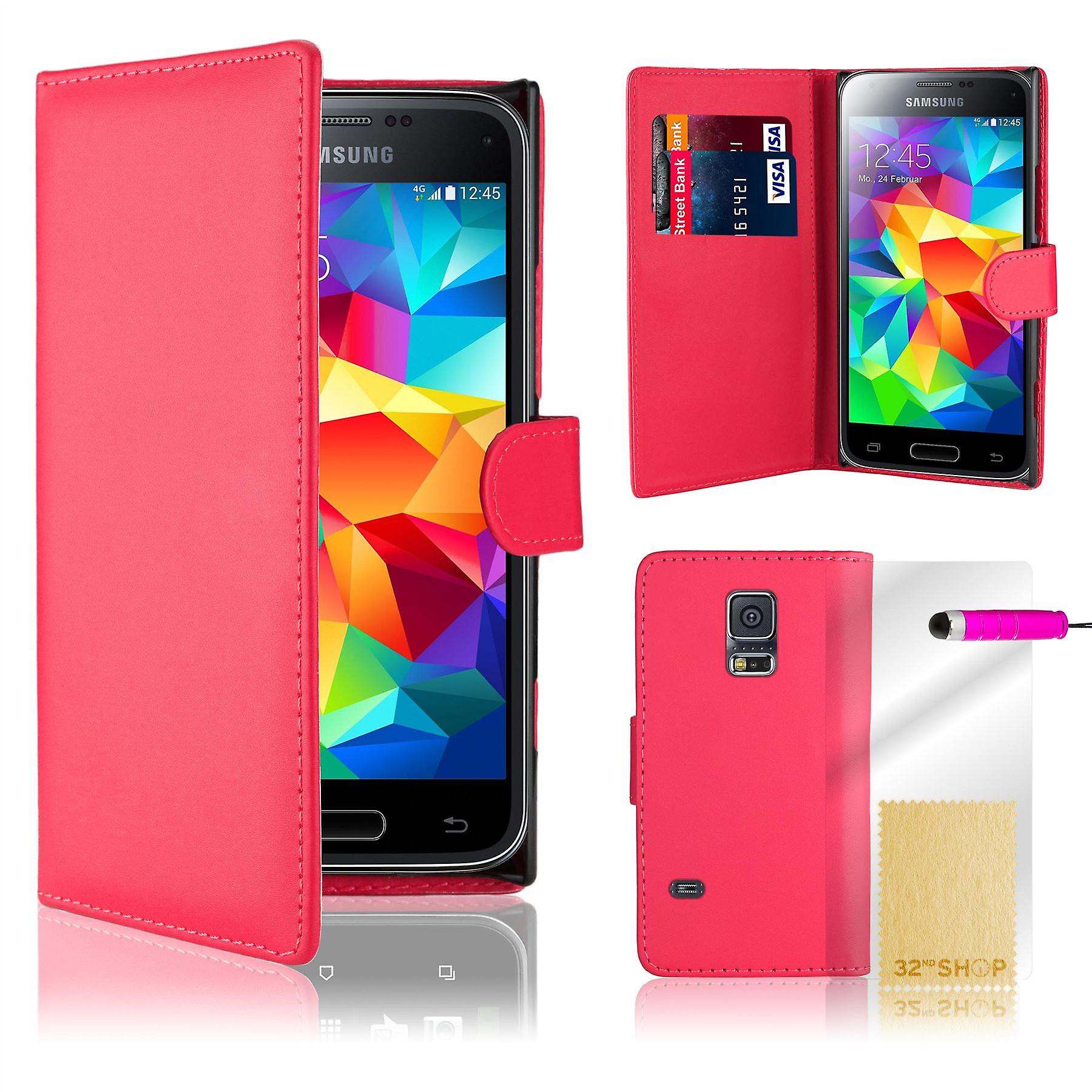 Book wallet PU leather case cover for Samsung Galaxy S5 mini SM-G800 + stylus - Hot Pink
