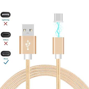 ONX3 (Gold) Magnetic Micro USB Nylon Braided Fast Rapid Charging & Data Syc Transfer Cable with LED light Indicator for HTC One M9+ Supreme Camera