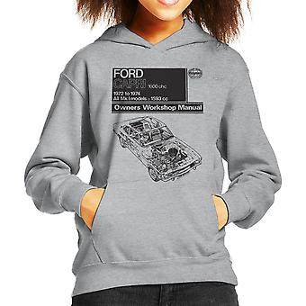 Haynes Workshop Manual Ford Capri 1600 OHC Black Kid's Hooded Sweatshirt