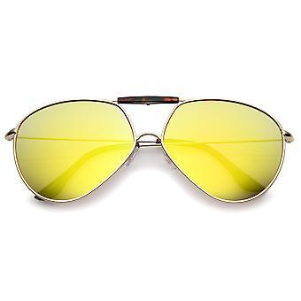 Ramka nowoczesne Brow Bar wszystko Slim świątyni metalowa przeciwsłoneczne okulary Aviator kolorowe Lustro 62mm