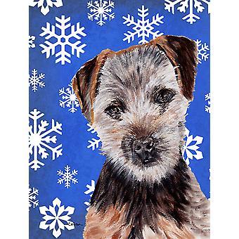 Norfolk Terrier Puppy Winter Snowflakes Flag Garden Size