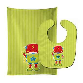 Carolines Treasures  BB9085STBU Robot #3 Baby Bib & Burp Cloth
