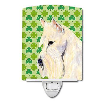 Scottish Terrier St. Patrick's Day Shamrock Portrait Ceramic Night Light