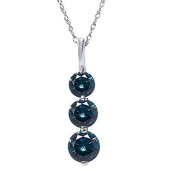 1 1 / 2ct drei Stone Blue Diamond Anhänger 14K White Gold