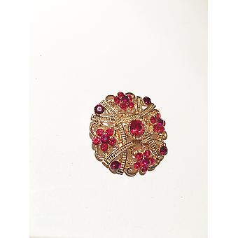 Gold and Red stone Brooch