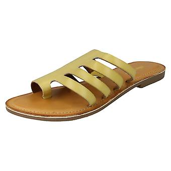 Ladies Leather Collection Flat Strappy Sandals F00125 - Yellow Leather - UK Size 6 - EU Size 39 - US Size 8