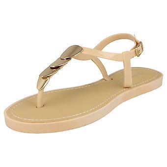 Ladies Savannah Toe Post Sandals / Metal Trim