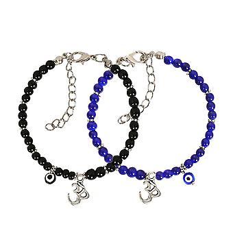 Evil Eye Protection kärlek par amuletter Set Royal Blue svart OM tibetanska andliga armband