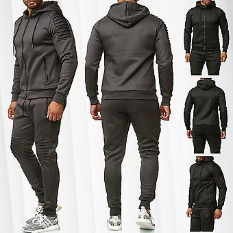 Men's Street Tracksuit Sweatsuit Joggingsuit Training Biker Panels