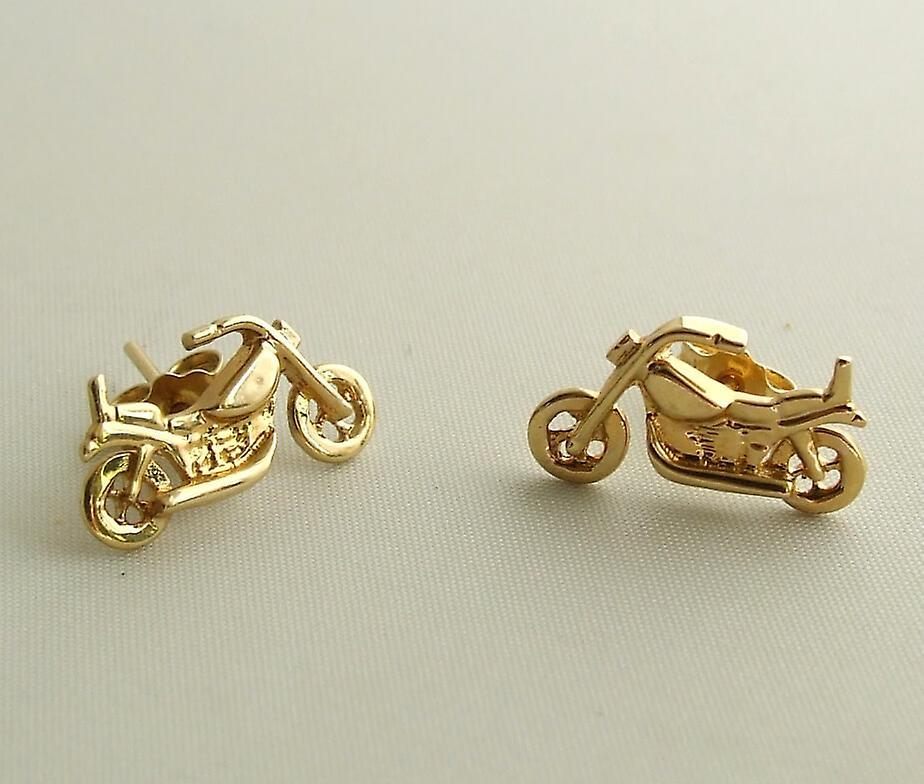 Golden motorcycle earrings