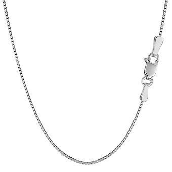 Sterling prata ródio chapeado caixa colar, 1,3 mm