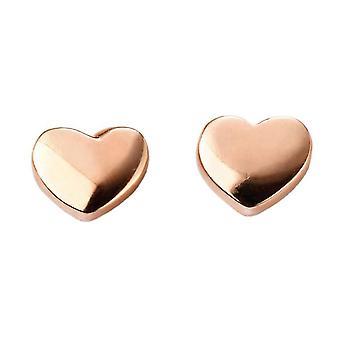 Elements Gold Heart Stud Earrings - Rose Gold