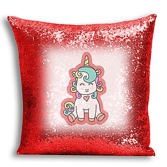 i-Tronixs - Unicorn Printed Design Red Sequin Cushion / Pillow Cover with Inserted Pillow for Home Decor - 19