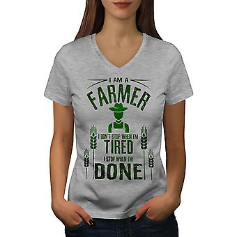 Farmer Job I Stop Women GreyV-Neck T-shirt | Wellcoda