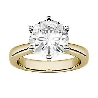 14K Yellow Gold Moissanite by Charles & Colvard 9.5mm Round Engagement Ring, 3.10ct DEW