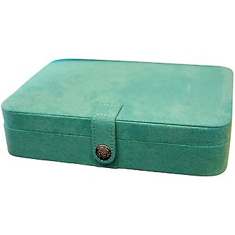 Mele Celia Blue Suedette Jewellery Case With Mirror - Ideal For Travel