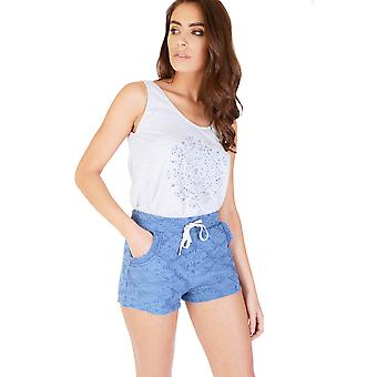 Double Agent Casual Blue Runner Shorts With Tropical Print