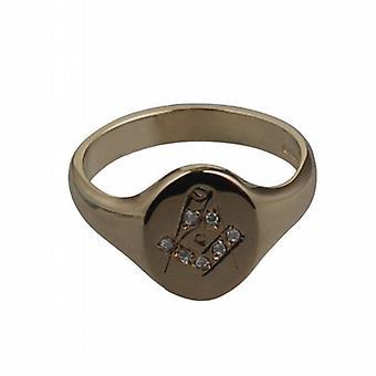 9 قيراط الذهب اليد 14x12mm محفورة الماسونية الماس مجموعة الدائري الحجم W