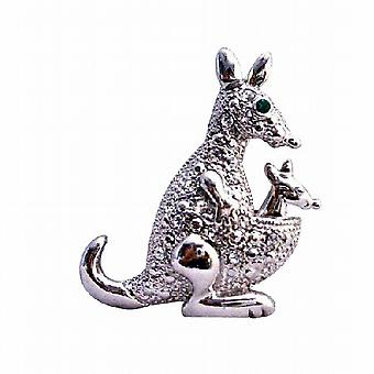Серебро, литье полностью встроенный с кубического циркония кенгуру животных брошь