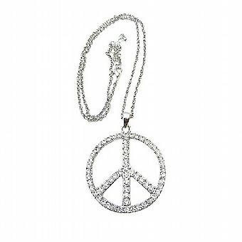 Peace Sign in ICe Shimmering all covered w/ CZ 24 inches