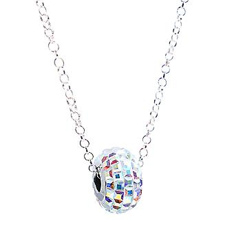 Ah! Jewellery Pavé Aurore Boreale Bead Crystals From Swarovski Necklace, Sterling Silver