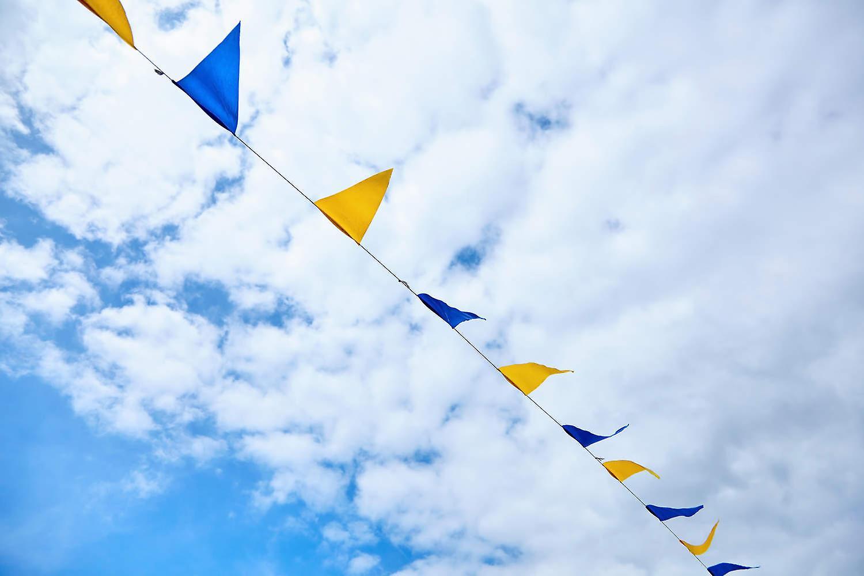 Flaggirlang – Vimpelgirlang Gul och blå - 3 m.