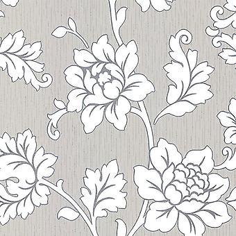 Bloem bloemenbehang textuur vinyl grijs zilver glitter Cream Anya Arthouse