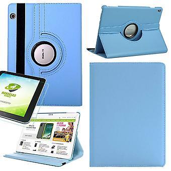For Samsung Galaxy Tab S5e T720 T725 360 graders veske deksel veske blå kunst lærveske ny + 0,3 mm hardt glass