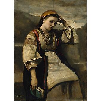 Reverie, Jean Baptiste Camille Corot, 50x36cm