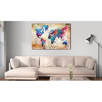 Painting - World Map: Urban Style120x80